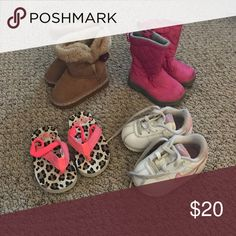 Girl Toddler Shoes- Size 4 Leopard print & Coral Osh Kosh sandals, White Nike tennis shoes, pink Children's Place boots, Tan Toys R Us boots Osh Kosh Shoes