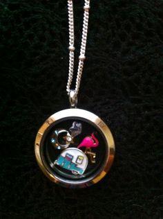 <3 camping necklace, pink flamingo lol. Medium silver locket.