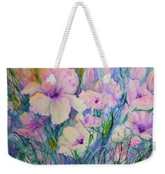 Spring Flower Medley pink and purple Weekender Tote Bag x by Sabina Von Arx. The tote bag includes cotton rope handle for easy carrying on your shoulder. Purple Spring Flowers, Pastel Flowers, Iris Flowers, Poppy Flowers, White Flowers, Floral Tote Bags, Pink Tote Bags, Beach Towel Bag, Weekender Tote