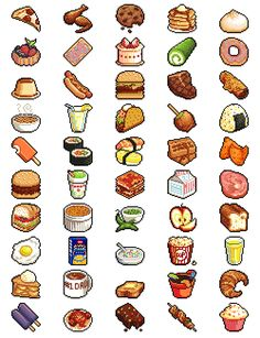 50 lil pixel foods (there should be a part 2 forthcoming EVENTUALLY) does anyone have any suggestions for other foods to attempt? 8 Bits, Pixel Art Food, Game Design, Art Naruto, 8bit Art, Isometric Art, Pixel Art Games, Pixel Design, Donia