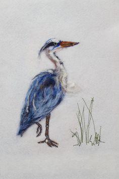 Great blue heron in needle felting illustration Needle Felting, Wool Felting, Felt Pictures, Curious Creatures, Blue Heron, Felt Art, Yarn Crafts, Paper Goods, Fiber Art