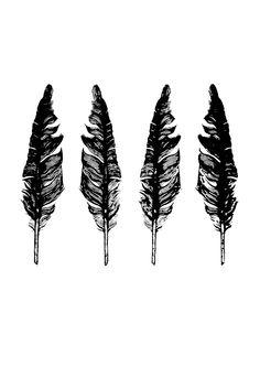Screen printed Blackbird Feathers, illustrated art print by MhairiStella on Etsy