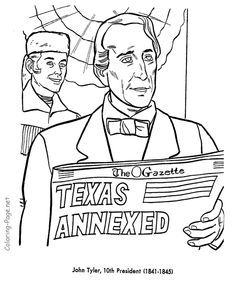 john tyler us president coloring page