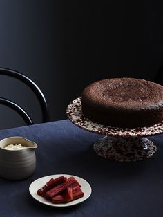 Chocolate Almond Cake with Roasted Rhubarb by Julia Ostro. Photo - Eve Wilson. Production - Lucy Feagins for thedesignfiles.net