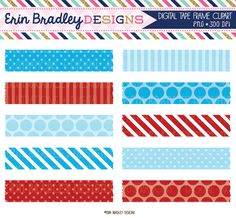 Blue and Red Digital Washi Tape Clipart Graphics Personal & Commercial Use Clip Art