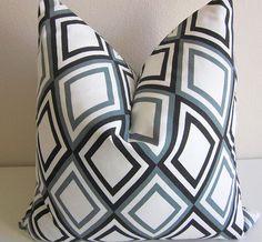 Harlequin Diamond Pillow Cover Black Gray by DesignerPillows4U