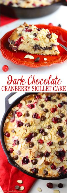 Dark Chocolate Cranberry Skillet Cake is a coffee cake filled with nuts, cranberries, and chocolate chips, topped with streusel crumbles, then baked in a cast iron skillet. Simply delicious!