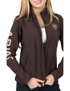 Ariat Women's Brown with Cream Logos Long Sleeve Soft Shell Jacket | Cavender's