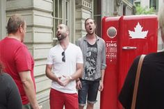 Canada Beer Refrigerator only open when people sing national anthem.