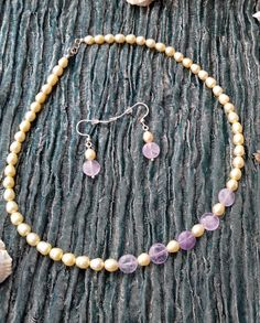 Sunny Sands - Yellow CFW Pearl and lavender Amethyst coin necklace and earrings - 925 sterling silver - handmade Purple Jewelry, Pearl Jewelry, Gemstone Jewelry, Amethyst Necklace, Silver Earrings, Coin Necklace, Beaded Necklace, Yellow Pearl, Semi Precious Gemstones