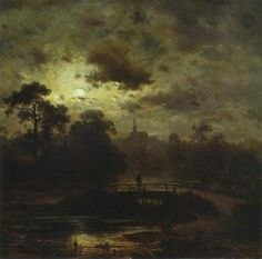 Image result for Jules Dupré (1811-1889), Landscape in Moonlight, 1852