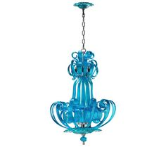 Aqua Blue Glass Ribbon Transitional Chandelier - Illuminate your living spaces in transitional style with this vibrant chandelier. The Cyan Design Florence Transitional chandelier features a majestic aqua Murano glass frame and accents with stunning art work. It is an eye-catching piece that provides an impressive appeal and elegant touch to the space.