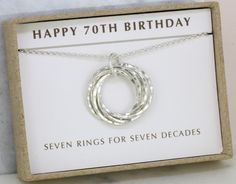70th Birthday Necklace Silver Gift Mother Sister Grandmother 7 Rings For