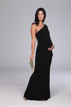 Stunning black one shoulder maternity evening gown