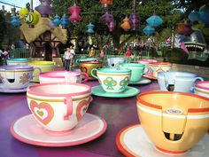 Tea Cup Ride Based on the Mad Hatter's Tea Party from Alice in Wonderland.  Every child loves, loves, loves this one!