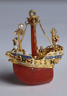 Jewel in the form of a boat, Second half 16th century - Gold, enamel, coral, pearls