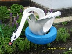 Дом, сад, дача. Поделки из шин своими руками. Лебедь.