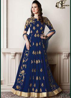 Anarkali Salwar Kameez Blue Georgette