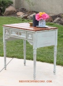 Sewing Table Turned Gorgeous Side Table using Dumpster Found Wood and CeCe Caldwell's 100 Natural Chalk + Clay Based Paint in Seattle Mist. REDOUXINTERIORS.COM FACEBOOK: REDOUX #redouxinteriors #cececaldwellspaints