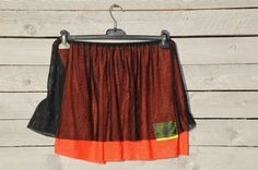 Christian Lacroix mini skirt in orange and black by RoaringRetro, $40.00