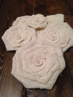 Six White/Cream Burlap Flowers by SimplySouthernCrafts on Etsy, $10.00