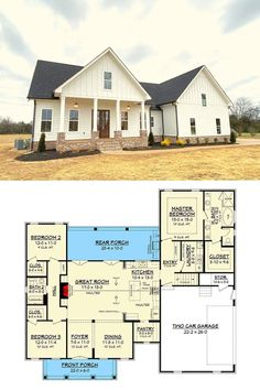 4 Bedroom House Plans, Barn House Plans, New House Plans, Dream House Plans, Home Plans, House Plans And More, Bungalow Floor Plans, Garage Floor Plans, Small Floor Plans