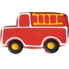 Fire truck cookies make the perfect favor for a fire station themed party!  Put one at every child's place or send one home instead in a goodie bag.  These bright red engine truck cookies are always a huge hit!