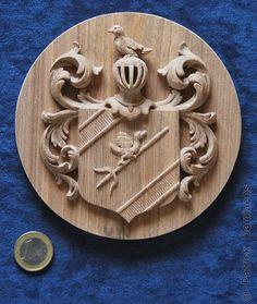 Ornamentsnijder - PATRICK DAMIAENS: Familiewapen Gravestein | Dupliceren van een familiewapen in hout | Miniatuur Familiewapenschild in hout...