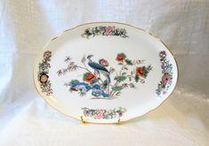 Exotic Crane Bird Oval Trinket Dish Bowl Bone China Vintage Merrie England