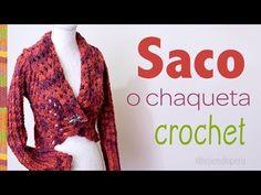 Chaqueta con cuello doblado y mangas largas tejido a crochet en 3 tallas: S M L - YouTube