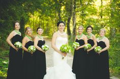 Black bridesmaid dresses with statement necklace