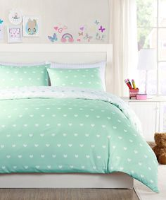 Take a look at this Aqua Kelly Heart Duvet Cover Set today!