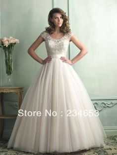 b228fadb902b 2014 Sexy Beaded Emboridered Scoop Neck Tulle Ball Gown Wedding Dresses  with Cap Sleeves Bridal Gown