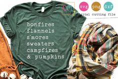 Bonfires Flannels Smores Sweaters Campfires And Pumpkins - Fall Shirts - Ideas of Fall Shirts - Bonfires Flannels Smores Sweaters Camp Vinyl Designs, Shirt Designs, Diy Fashion, Autumn Fashion, Womens Fashion, Fashion Ideas, Fashion Dresses, Fashion Tips, Fall Outfits