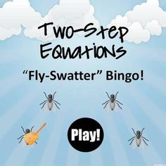 Super fun bingo game to practice solving two-step equations.  The flies really fly around the screen!  Students aim with a Koosh ball, or just select from the screen.  Student worksheet and 30 individual bingo boards included.