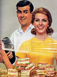 Excited about glad wrap: a retro ad showing how much fun the product is to use. It uses exaggeration ( the lady has wrapped so many sandwiches).