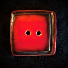 Red Square Porcelain Button
