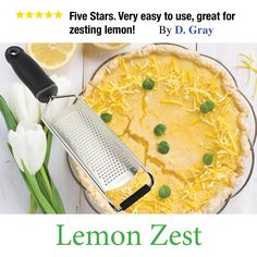 This tool is life changing for those recipes that call for lemon zest. Very easy to use and an important piece of any kitchen!  Click image to order.