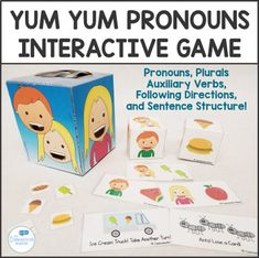 Interactive speech therapy pronouns game great for preschool speech or special education classrooms! Teach pronouns plurals auxiliary verbs expanding utterances expanding MLU and more! Preschool Speech Therapy, Speech Therapy Games, Speech Language Therapy, Speech And Language, Speech Pathology, Receptive Language, Teaching Pronouns, Pronoun Activities, Speech Therapy Activities