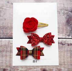 Red hair bow set tartan hair bows res glitter hair bows