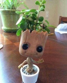 My take on a growing baby groot. Even better than the chia pet version. My take on a growing baby gr Baby Groot, Clay Crafts, Diy And Crafts, 3d Puzzel, Flower Pots, Flowers, 3d Prints, Plant Holders, Succulents Garden