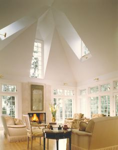 Dramatic ceiling skylights in this Craftsman style home designed by Stuart Cohen & Julie Hacker