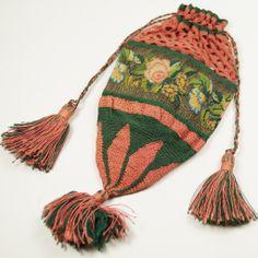 Sale Pending Georgian Regency Reticule Drawstring Silk Silver Gauze FINEST Crochet/ Netting Circa 1820