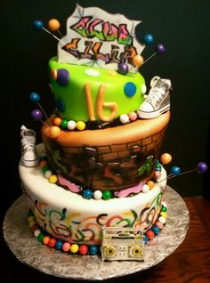 Graffiti And Glow Themed 2 Tier Cake Perfect For Your Next Glow Party At Stratum Cool Cake