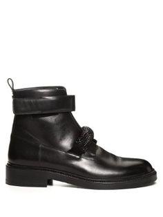 Crystal-embellished leather ankle boots | Christopher Kane | MATCHESFASHION.COM UK