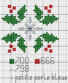 Cute christmas cross stitch pattern - holly