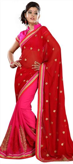 150746, Party Wear Sarees, Net, Patch, Thread, Lace, Red and Maroon, Pink and Majenta Color Family