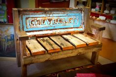 Stepside Chevrolet Tailgate bench with reclaimed by TailgateGuy, $425.00