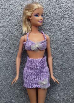 Ravelry: Lavender Underwear for Barbie pattern by Esther Kate Barbie Knitting Patterns, Barbie Clothes Patterns, Clothing Patterns, Crochet Doll Clothes, Knitted Dolls, Crochet Dolls, Barbie And Ken, Barbie Dolls, Bikini Pattern