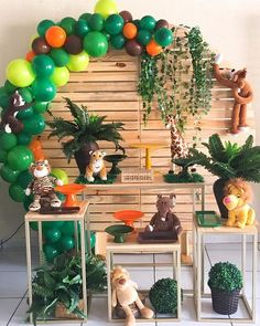 1 Year Old Birthday Party, Boys First Birthday Party Ideas, Jungle Theme Birthday, Safari Theme Party, Safari Birthday Party, Jungle Party, Boy Birthday Parties, Birthday Party Decorations, Baby Shower Balloons